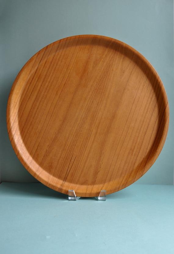 Large Molded Round Teak Tray