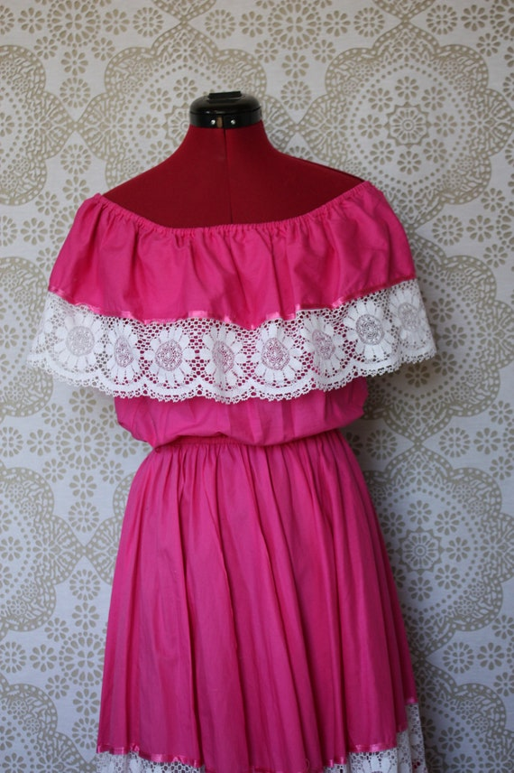 Vintage 1970's 80's Hot Pink Off the Shoulder Mexican Wedding Dress Boho Peasant M/L