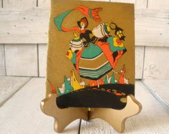Three vintage Christmas cards Art Deco stylized Victorian 1930s