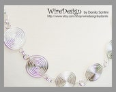 6 swirls with chains - silver wire handmade necklace