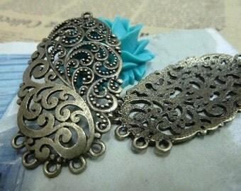 10pcs 28x53mm The Flower Connector Antique Bronze Retro Pendant Charm For Jewelry Pendant C1986