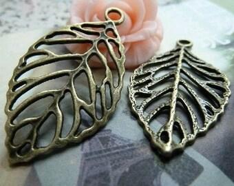 10pcs 27x50mm The Leaves Antique Bronze Retro Pendant Charm For Jewelry Necklace Charms Pendants C66