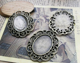 10 pcs of 18x25mm  Antique Bronze Cameo Base Setting Tray Blanks Pendants D114