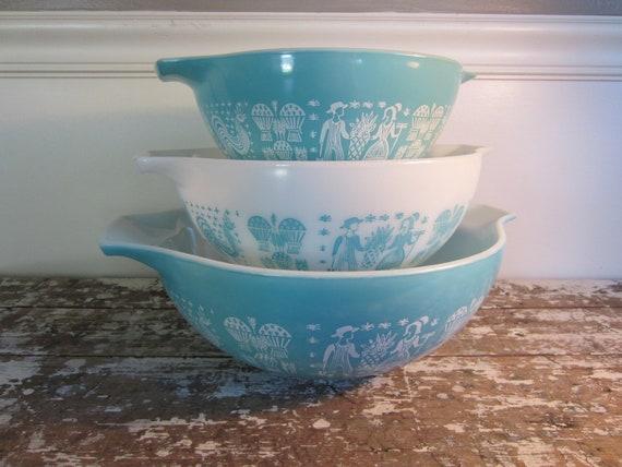 Turquoise Butterprint Pyrex Bowls Cinderella Amish Bowls Aqua Mixing Bowls