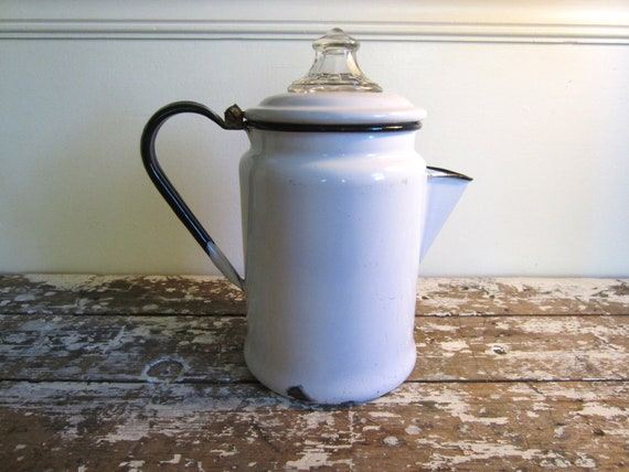 Enamelware Coffee Pot Pyrex Coffee/Tea Pot with hinged lid
