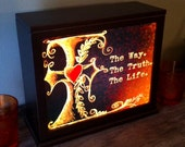 Christian Art Lightbox Lamp with The Way, The Truth and The Life Cross