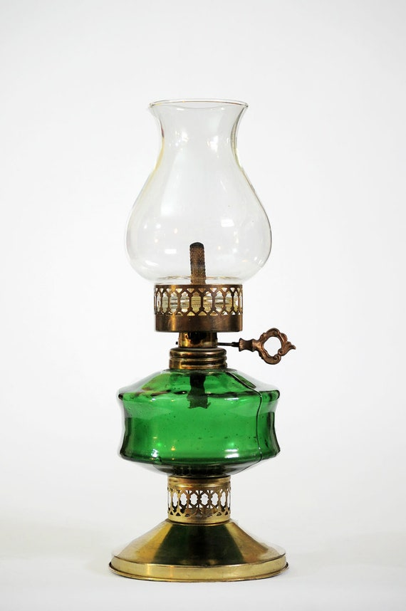 old oil lamps for sale antique oil lamp brass with green glass and. Black Bedroom Furniture Sets. Home Design Ideas