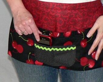 Sweet Cherry Lotsa Pockets Apron, Vendor Apron with zipper pocket, farmers markets/ teachers/ waitress/ new mom/ photographer, READY TO SHIP