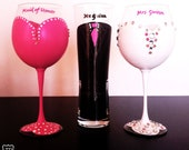 Maid of honor wine glass with rhinestones - Bride wine glass with rhinestones - Groom Tux Pilsner - 20 oz large glasses - pink wedding