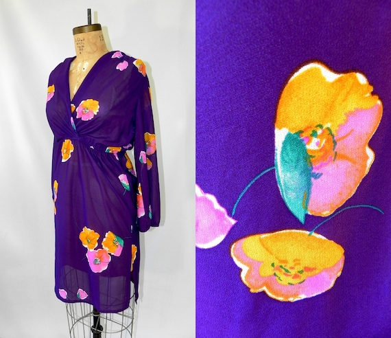vintage 70s sheer summer dress // bright purple // wrap style // small to medium