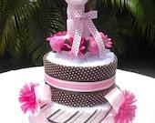 Pink Giraffe Diaper Cake
