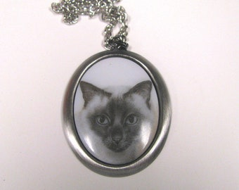 Siamese cat Cameo necklace Siamese Cat Cameo, Antique Silver tone Metal, cat necklace cat lover vintage Perfect for gift giving