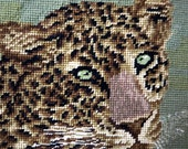 Needlepoint Jungle cat, Vintage Cheetah Wall hanging