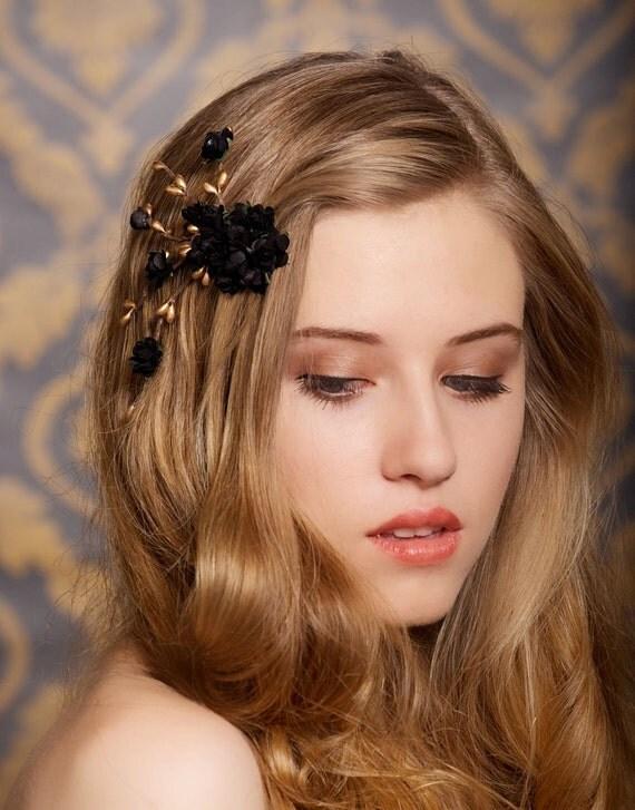 black bridal hair flower, black, gold, flower hair clip, wedding hair accessory, bohemian bride, rustic wedding - Ready to Ship- ALICE