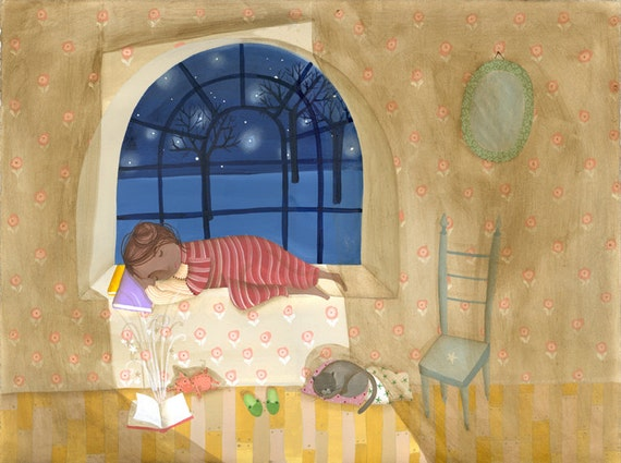 Digital print of a children illustration painted with acrylics. Girl sleeping in the dark until something is happening very close.