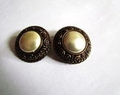 Vintage 1980s Clip On Earrings, Grecian style oversize earring with faux pearls