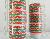 Vintage Stackable Christmas Red Green Holly Mugs Holiday Parties Egg Nog Coffee Tea Set of 6