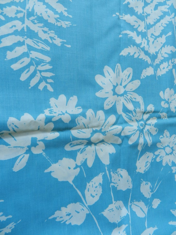 Vintage Wamsutta Supercale Plus Flat Sheet in Aqua and White Ferns Leaves and Flowers
