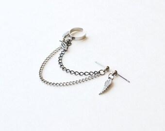Winged Heart Double Chain Ear Cuff Earrings (Pair)