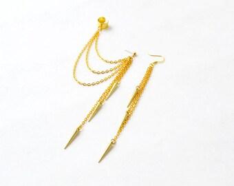 Gold Spikes Triple Chain Star Ear Cuff (Pair)