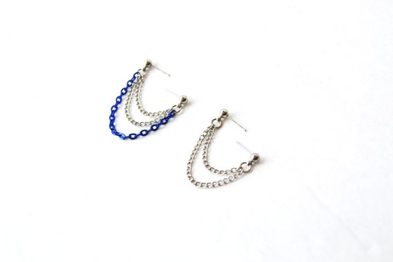Dark Blue and Silver Cartilage Earrings (Set of 2 Single-Sides)