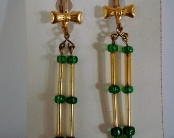 """2"""" DANGLERS have GOOD MOBILITY, yellow with green glass beads, on lever back hoops."""