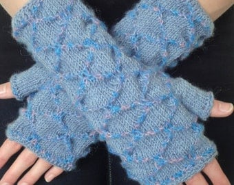 Fingerless Mittens - Blue Honeycomb