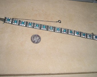 Vintage Art Deco Rhinestone Bracelet 1920's Blue Square Cut Glass Stones Jewelry 2125