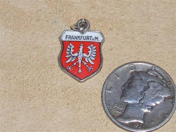 Signed 800 Silver On Enamel Travel Shield Frankfurt Charm Or Pendant 1960's Vintage Jewelry 7053