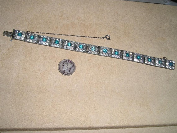 Vintage Art Deco Rhinestone Bracelet 1920's Blue Square Cut Glass Stones Jewelry 2125