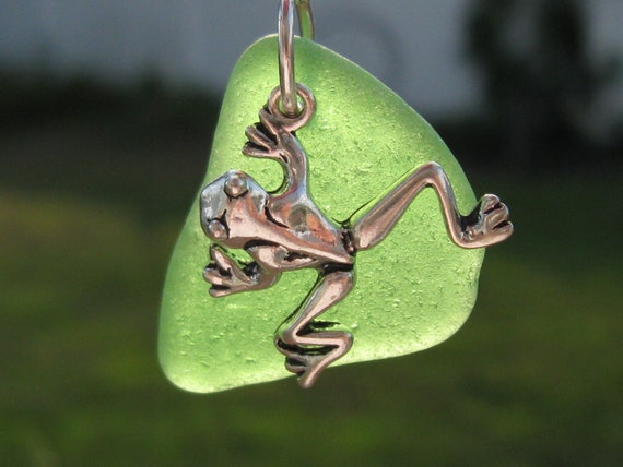 Sea Glass Jewelry Kelly Green Sea Glass Frog Necklace