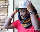 Black Kente African wax print scarf, Infinity scarf, winter scarf, Cowl, men's scarf, women's scarf
