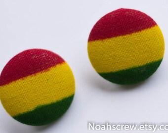 Hypoallergenic Stud Earrings: Large Ankara African wax print earrings, Ghana, Rasta, red, yellow and green