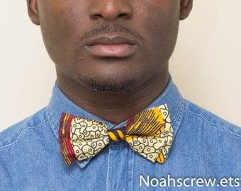Men's Clip on Bow tie: Ankara African Wax print, unisex bow tie, womens bowtie