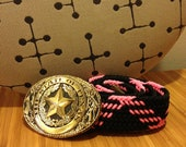 1980s Pink and Black Belt with Removable State of Texas Buckle // SIZE S