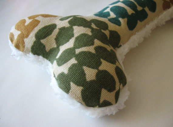 Reserved for Natalie, Squeaky Plush Dog Bone Toy, Teal, Tea, Sage, Brown, & Gold Spots