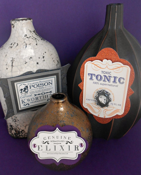 Scary Halloween Bottle Labels/ Set of 7/ Pick your Poison