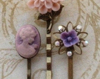 Bobby Pins, Hair Accessories, Flower Bobby Pins, Cameo Hair Pins