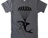 Shark Paratrooper T Shirt - American Apparel Tshirt - S M L XL 2XL (15 Color Options)