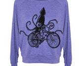 Womens Sweatshirt Squid on a Bike Raglan Pullover - American Apparel Sweater - S M and L (8 Color Options)
