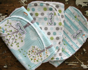 Baby Burp Cloths - Set of 3 - Michael Miller Backyard Baby Collection - Trees, Dogs and Birds