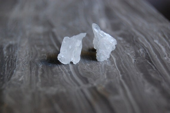 Clear Quartz Cluster on Sterling Silver Studs