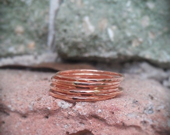 Hammered Stack Rings- Rose Gold Filled Set of 7 hammered rings