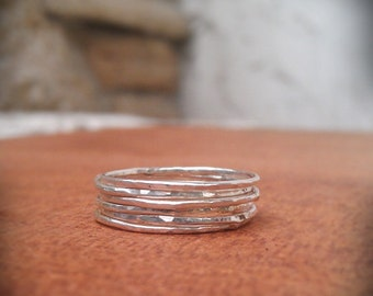 Stack Rings- Sterling silver hammered set of 6 rings