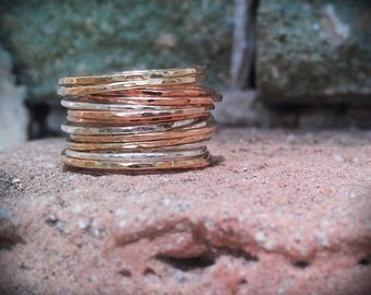 Stack Rings- Mixed metals set of 12 hammered rings- rose gold, gold, and sterling silver