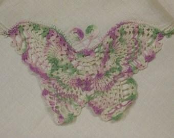 Butterfly Crochet Handkerchief Vintage Swiss Novelty Hankie Beautiful Lavender Green Pink