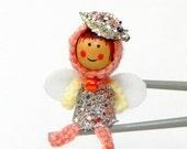 Silver leaf peach pink fairy MochiQtie Amigurumi - Mochi size crochet mini toy doll - Crochet Amigurumi