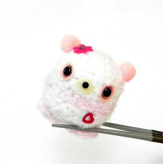 Amigurumi crocheted stuff animal toy doll - Chubby pink panda MochiQtie crochet Amigurumi