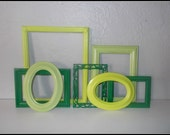 Upcycled Shades of Green Empty Frames - Set of 6 - Lime Green, Apple Green and Meadow Green