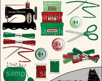 Christmas Stitching Clipart and Graphic Set, Sewing Clipart, Crafting Clipart - Digital Scrapbooking Kit